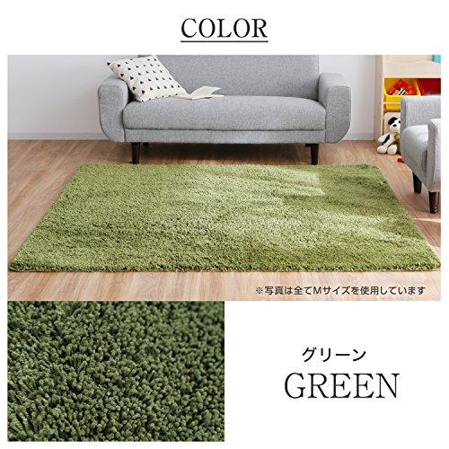 LOWYAラグラグマットカーペットマットM正方形185x185cmグリーン