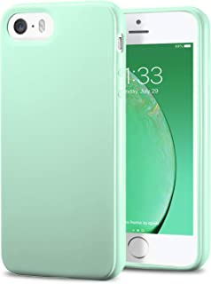 TENOC Phone Case Compatible for Apple iPhone SE & iPhone 5S & iPhone 5, Slim Fit Soft TPU Bumper Protective Cover, Glossy Mint