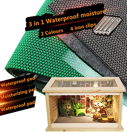DREAMER.U 3 in 1 Waterproof Moisture Reptile Cage Substrate Carpet Landscaping Liner Mat for Reptiles Snakes Lizards Terrarium Turtles Soft Cage Floor Pad (5030cm/19.711.8in, Grey)