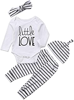 b87f002df9 Lurryly❤Newborn Baby Boy Girl Long Sleeve Letter Tops+ Stripe Pants  Headband Clothes Set 0