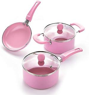 """Caannasweis 3 Piece Cookware Set, 5.5"""" Nonstick Frying Pan, sauce pan and soup pan with glass lid set (Pink)…"""