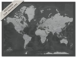 World Map Poster with Pins | Personalized Push Pin Travel Map | Gift for Travelers | Various Design and Size options