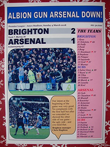 Sports Prints UK Brighton & Hove Albion 2 Arsenal 1-2018 - Impresión de recuerdo