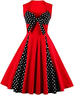 73d5c2aaa59 Killreal Women s Polka Dot Retro Vintage Style Cocktail Party Swing Dresses