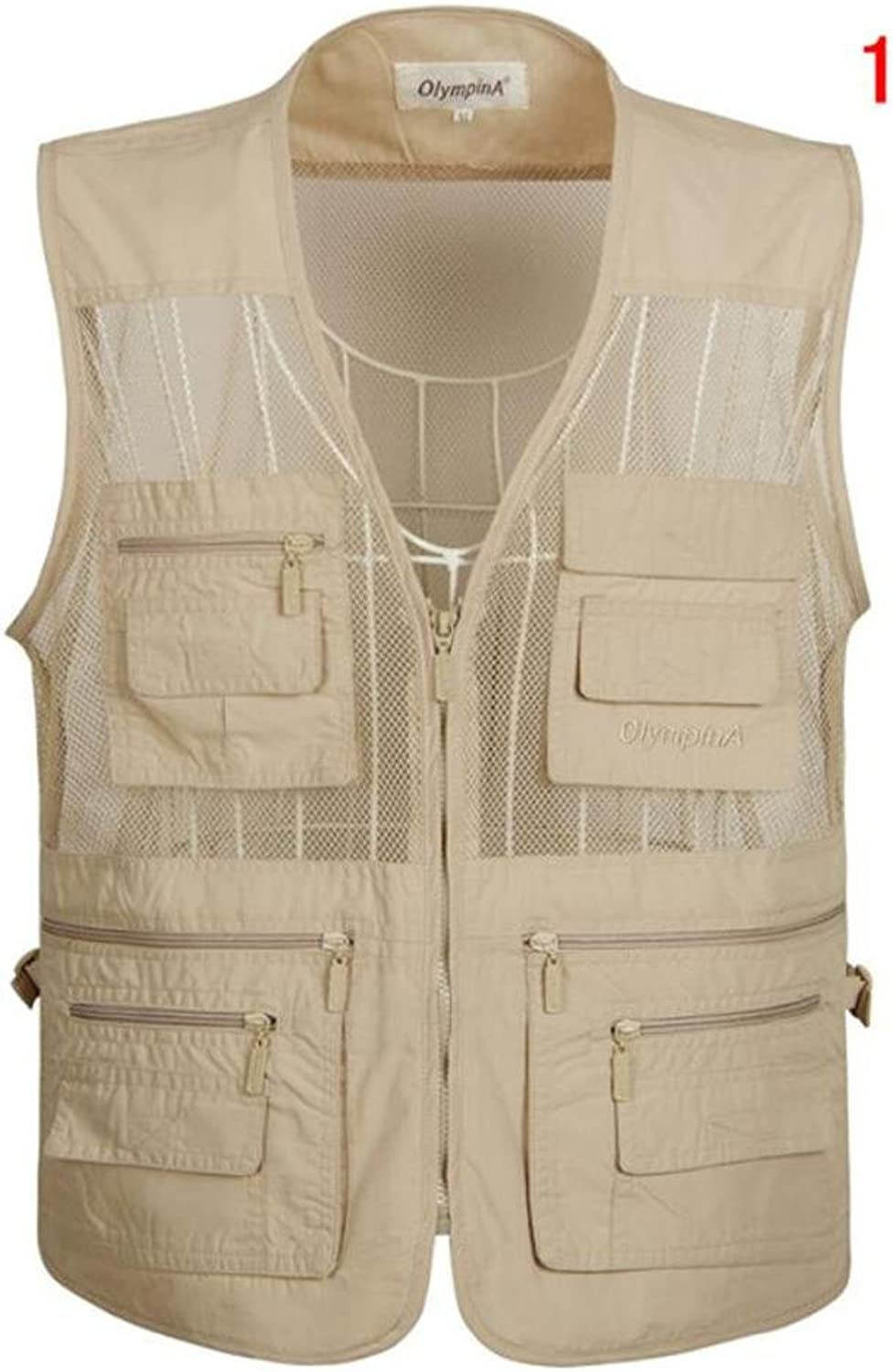 LZZNA Multi-Pouch Vest Fishing Vest Photography Vest Casual Zipper Director Vest Summer Plus Size Vest