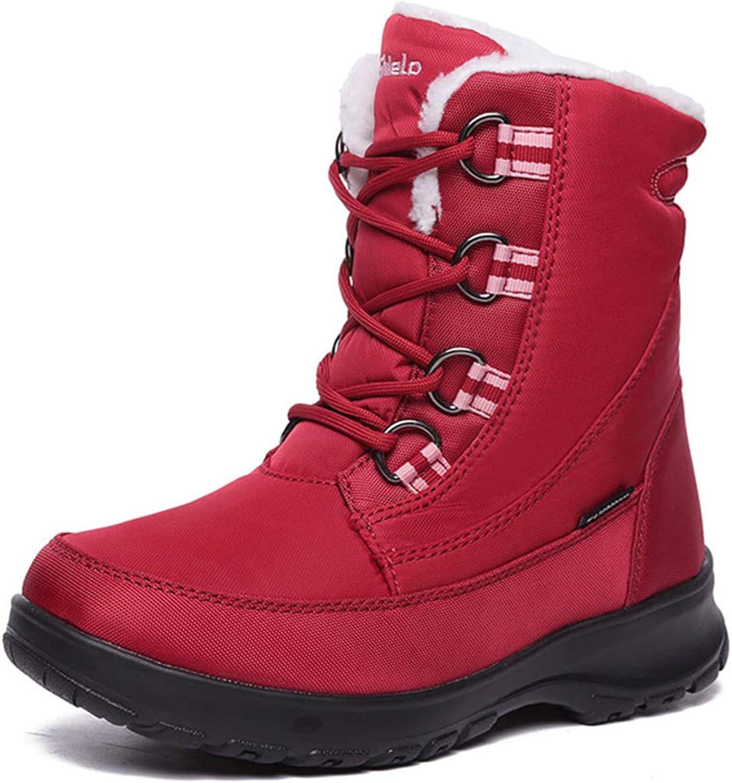 Winter Snow Boots for Women,Outdoor Warm Thicken Waterproof Non-Slip Short Block Velvet shoes Ladies Girls Outwear,Red