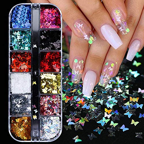 Butterfly Nail Art DecalsSticker Butterfly Nail Glitter Sequins Holographic Nail Sparkle Glitter for Nail Art Decoration12 Color/ Box(Set)