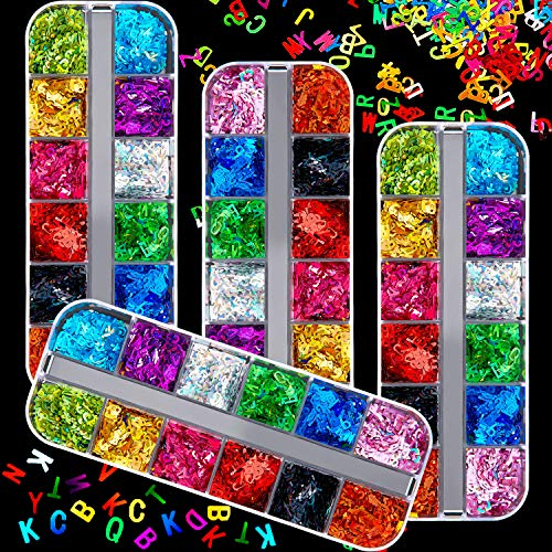 48 Boxes Holographic Letter Nail Sequins 26 Letters Holographic Nail Decals 3D Mixed Nails Glitter Flakes Laser Confetti Sequin for Nail Art Decoration Design Nail Salon