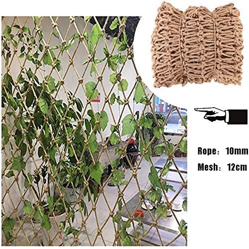 Nologo LAOSUNJIA Garden Mesh Netting,Trellis Netting for Climbing Plants,Natural Jute Material Hand-woven,for Stairs Garden,12mm/10cm,Garden Net (Size : 2x5m)