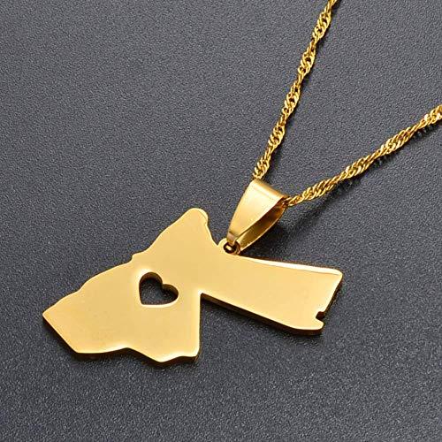 xtszlfj El Reino hachemita de Jordan Colgante Collar para Mujeres/Hombres Oro Color joyería Regalo