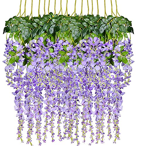 DearHouse 6 Pieces 3.6 Feet Artificial Wisteria Garland, Artificial Flowers Garland Silk Wisteria Vine Hanging Flower for Wedding Home Party Garden Outdoor