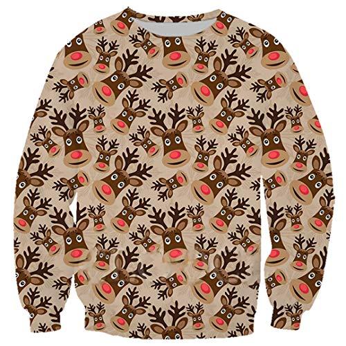 Vieryyes Reindeer Hoodie Männer Frauen Sportswear Set 3D-Druck-Weihnachts Sweatshirt Trainingshose Sweatshirt 5 M
