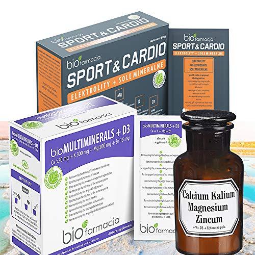 Dead Sea Minerals Pack of 3   Multiminerals + D3   Echinacea Extract + Calcium Magnesium Potassium and Vitamin D3   Sport & Cardio Electrolytes and Minerals Salts   Premium Quality