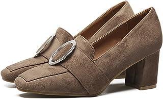 QZUnique Women's Qzuniqe Autumn High Heels Soft Square Toe Shoes 6 B(M) US Khaki