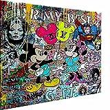 Magic Canvas Art - Imágenes de Mickey Mouse Pop Art Lienzo de 1 pieza de alta calidad impresión artística moderna murales de pared de diseño de pared de diseño de pared, tamaño: 120 x 80 cm