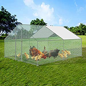 Froadp Hühnerkäfig Außengehege Freilaufgehege Verzinkter Stahlrahmen mit PE Sonnenschutzdach und Schloss Hühnerstall…