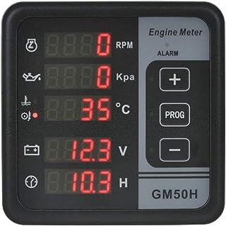 XIAOFANG Fangxia Store GM50H Motor Digital Motor Multifuncional Monitor Diesel Monitor con medidor de presión de Aceite Rotating Speed Aceite Temperatura12001844 (Color : GM50H)