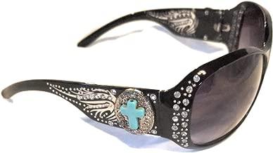 BB Faux Turquoise Blue Cross Wings Sunglasses Bling Rhinestone Concho Shades Jp