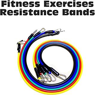 Sangmei 11pcs/Set Pull Rope Fitness Exercises Resistance Bands TPE Tubes Pedal Isolation Belt Set Tension Band Muscle Trai...