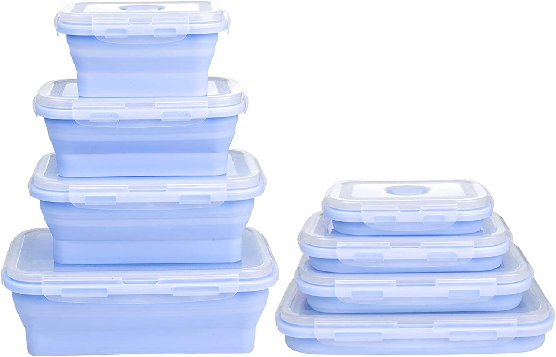 ZWOOS Fiambrera de Silicona Juego, 4 PCS Recipientes de Silicona Plegable Fiambrera de Silicona plegabl Silicona Plegable Almacenamiento de Alimentos para Almacenamiento de Alimentos en Campamentos