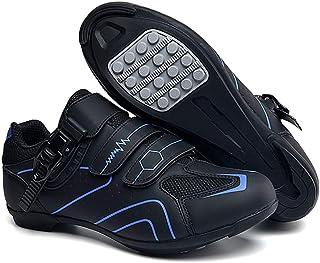 tangjiu Chaussures de Cyclisme Antidérapantes, Chaussures de Vélo de Route et de Montagne en Fibre de Carbone Respirantes,...