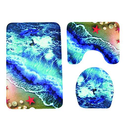 Alfombrilla de Contorno Cubierta de la Tapa Mesllings Juego de 3 alfombras de ba/ño de Color Naranja Van Park al Lado del /árbol con Alfombra de ba/ño Antideslizante 40x60cm