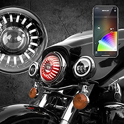 """7"""" RGB LED Headlight Kit with XKchrome Smartphone App-enabled Bluetooth and Switchback enabled with Amber Turn Signal + White Daytime Running LightÉ"""