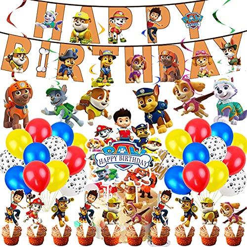 Paw Dogs Patrol Geburtstag Dekorations Set, Paw Dogs Patrol Geburtstag Dekorations Set Luftballons Banner Cake Toppers Hängen Wirbel Dekorationen für Geburtstag Party Dekorationen (Gelb)