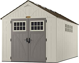 Suncast 16' x 8' Tremont Storage Shed with Windows - Natural Wood-like Outdoor Storage for Power Equipment and Yard Tools - All-Weather Resin Material, Skylights and Shingle Style Roof