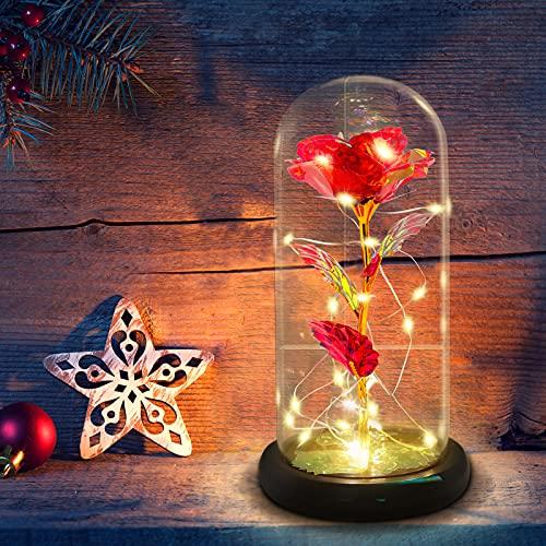 Schönheit und Das Biest Ewige Rosen Geschenke für Frauen,Frau,Freundin,Valentinstag,Jubiläen,Muttertag,Geburtstag,Ehe,Vorschlagen,Weihnachten,Rose in Glaskuppel mit LED-Lichter