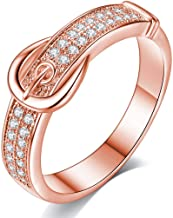 AJZYX Creative Rose Gold Plated Cubic Zirconia CZ Rings Belt-Shaped Pattern Promise Ring for Girls Ladies Size 5-10
