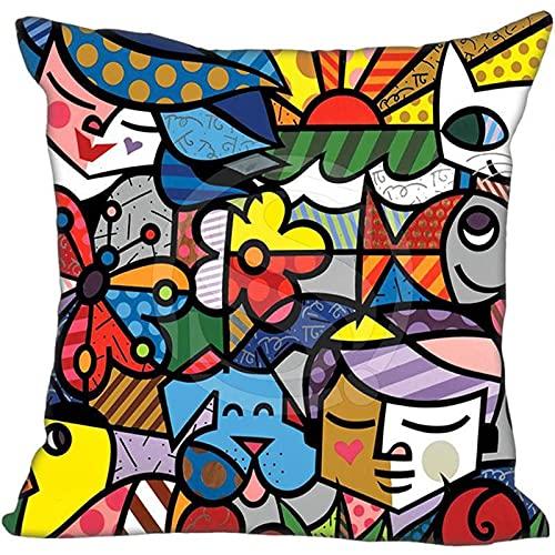 Funda De Almohada Decorativa De Pintura Al Óleo Tridimensional, Árboles, Flores, Cojín De Lino, Funda De Almohada, Funda De Cojín De Cintura De Coche, Lavable