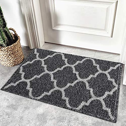 Homaxy rutschfest Fußmatte Waschbar Schmutzfangmatte Fussmatte Aussen Pflegeleichte Sauberlaufmatte Türmatte für Innen & Außen - 60 x 90 cm, Schwarz Geometrie