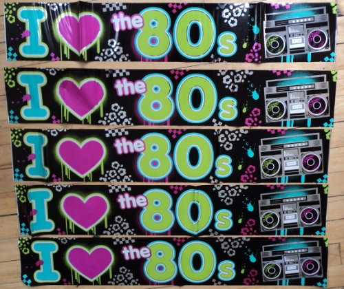 Totally 80s Foil Banner. Vibrant and bold, lightweight plastic banner 7.6m in length. Ideal for adding an extra touch to your party decor.