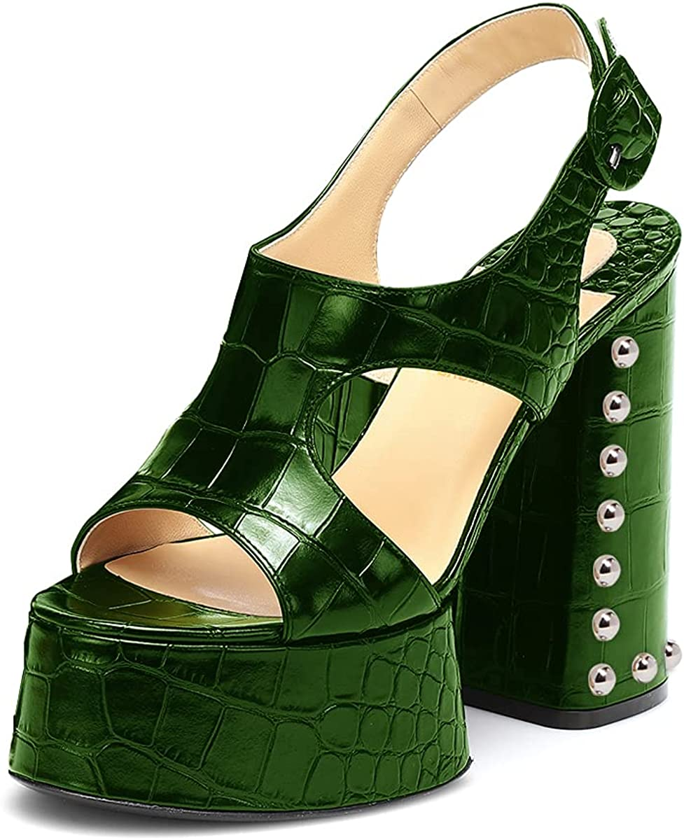 PORCLAY Women's Stud OFFicial Platform Casual Toe Open Slip Sandal Heeled Tucson Mall