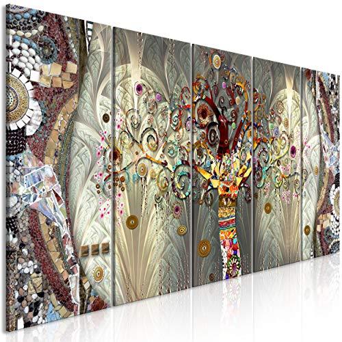decomonkey Bilder Gustav Klimt Baum 200x80 cm 5 Teilig Leinwandbilder Bild auf Leinwand Wandbild Kunstdruck Wanddeko Wand Wohnzimmer Wanddekoration Deko Abstrakt Mosaik