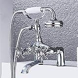 AXWT Juego de ducha de bañera de cromo lateral de la bañera Lado de la ducha simple Instalación de la cubierta de la cabina doble Manija 2 Funciones de la mano de la mano de la mano de la mano de lató