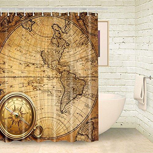 CHATAE Duschvorhang Plateau Peep Toe Weltkarte Bad Vorhänge Kompass Duschvorhang Badezimmer Gelb Stoff Vorhang mit Dusche Ringe (177,8cm WX70L)