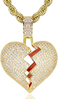 Hip Hop Iced-Out Men Necklace Rapper 18K Gold Plated CZ Fully Bling Bubble Broken Heart Pendant Necklace Chain for Men Women Fashion Jewelry Gifts SENTERIA