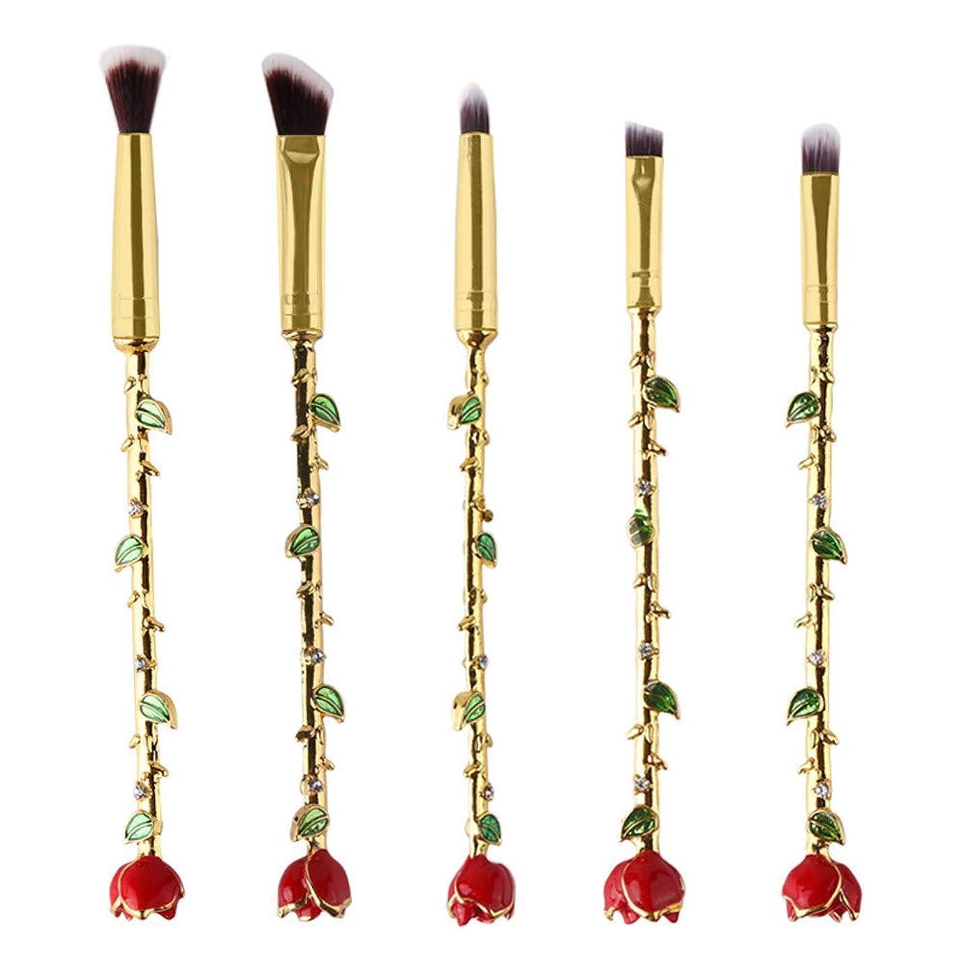 韻枯渇するシフトCimaybeauty 5個 バラ 化粧ブラシ ゴールデンマウスチューブ シリーズ 化粧ブラシセット 高級タクロン 超柔らかい 可愛い 見た目 多機能 便利 パウダー アイシャドー アイ