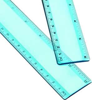 Plastic Ruler Straight Ruler Plastic Measuring Tool 12 Inches and 6 Inches, 2 Pieces (Green)