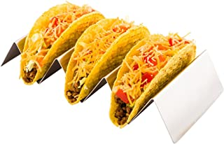 Triple Taco Rack, Taco Stand, Taco Holder - Holds 3 Taco, Hard or Soft Shell - Stainless Steel - 8.6 Inch - 1ct Box - Rest...