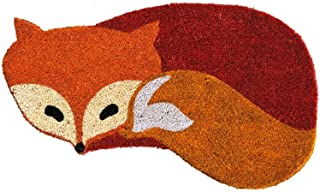 "Evergreen Fox Shaped Natural Coconut Fiber Coir Welcome Mat - Smallest Portion: 21""W x 10""H, Largest Portion: 26.5""W x 15""H"