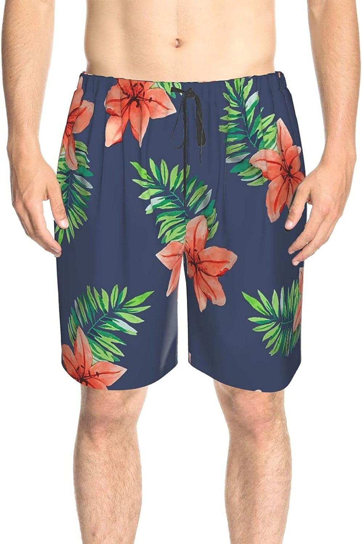 JINJUELS Mens Swim Trunks Tropical Flowers Swim Short Boardshort Drawstring 3D Printed Swimwear Beach Shorts with Liner