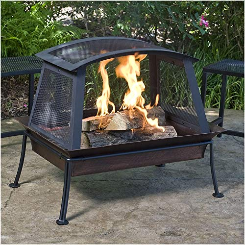 ZDYLM-Y Square Fire Pit with 360 Degree View, Outdoor Wood Burning Fire Pit with Spark Screen, for Patio, Picnic, Garden and Backyard