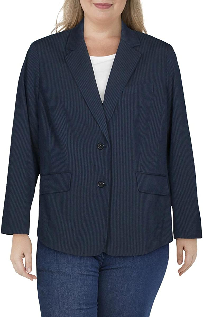 Anne Klein Womens Plus Suit Separate Business Two-Button Blazer