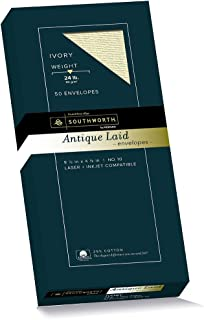 Southworth 25% Cotton #10 Antique Laid Envelopes, Ivory, 24 Pounds, 50 Count (P464-10)