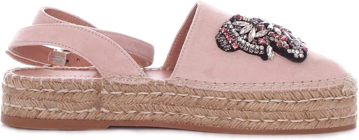 TWIN-SET Women's 191TCP10A690 Pink Leather Espadrilles