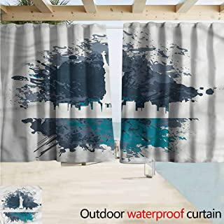 Beihai1Sun Darkening Curtains New York USA City Statue of Liberty Drapes for Outdoor Decor W63x63L Inches