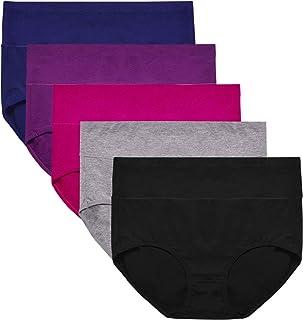ASIMOON Women's Cotton Underwear, Soft Underwear Briefs for Women Stretch Ladies Panties Breathable Underpants 5 Pack